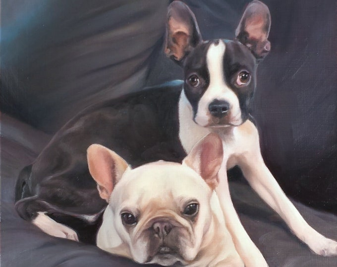 Custom PET PORTRAIT - Pet Painting - Boston Terrier - Bulldog - Oil Painting