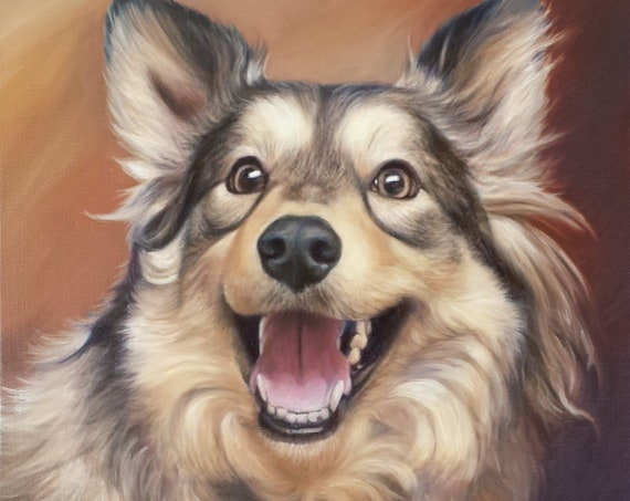 Custom Pet Portrait - PET PAINTING - Oil Painting - Custom Artwork - German Shepherd - Australian Shepherd