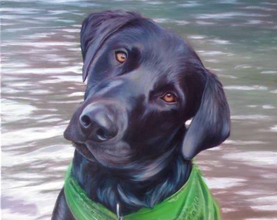 PET PORTRAIT - Dog Portrait - Black Lab - Custom Painting - Oil Painting - Best Gift