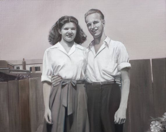 CUSTOM PORTRAIT - Custom Painting - Oil Painting - Black and White Painting - Oil Portrait - Anniversary Gift