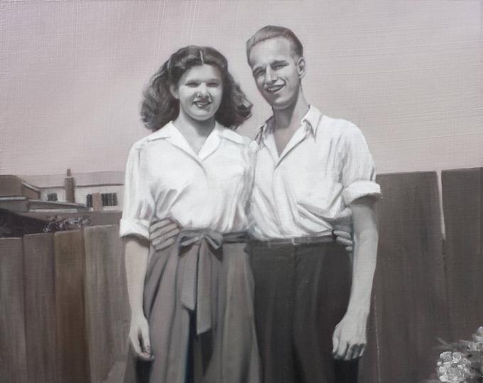 CUSTOM PORTRAIT - Custom Painting - Oil Painting - Black and White Painting - Oil Portrait - Anniversary Gift
