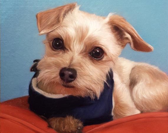 CUSTOM PET PORTRAIT - Pet Painting - Oil Painting - Unique Gift - Dog Portrait - Terrier - Schnauzer - Shih Tzu