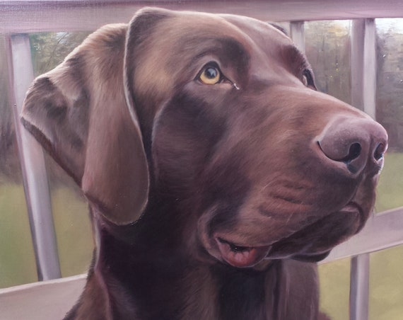 Custom Pet Portrait - Chocolate Lab  - Oil Painting - Dog Art