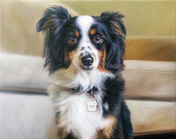 Custom Portrait - Pet Portrait - Dog Portrait - Oil Painting - Pet Painting - Commissioned Art - Border Collie - Yellow Lab