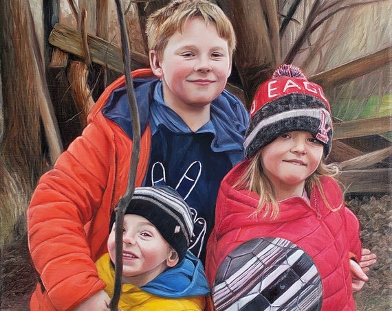 Custom Family Portrait - CUSTOM PORTRAIT PAINTING -  Oil Painting - Child Portrait - Painted from Photo