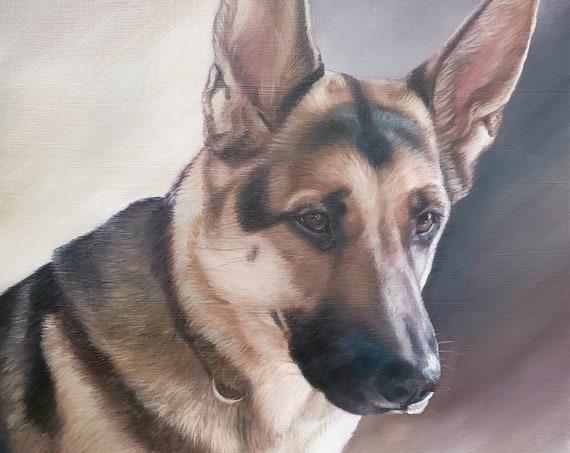 Custom Pet Portrait - Oil Painting - Dog Painting - Lab - German Shephard