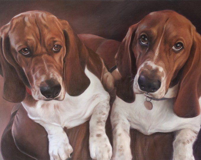 CUSTOM PET PORTRAIT - Oil Painting - Dog Painting - Basset Hound - Labrador - Yellow Lab - Perfect Gift