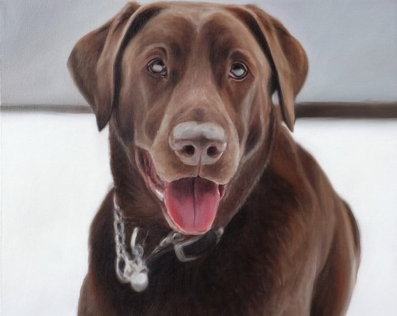 CUSTOM PET PORTRAIT - Oil Painting - Chocolate Lab - The Best Gift