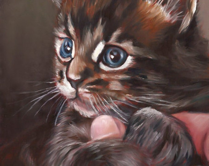 CUSTOM CAT PORTRAIT - Pet Portrait - Miniature Portrait Painting Cat - Unique Cat Gift