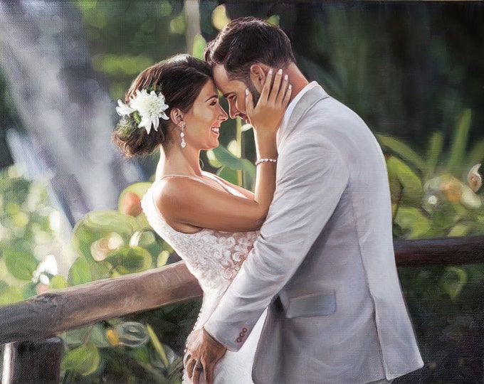 CUSTOM PORTRAIT - Wedding Portrait - Wedding Painting - Oil Painting - Wedding Gift - Anniversary Gift