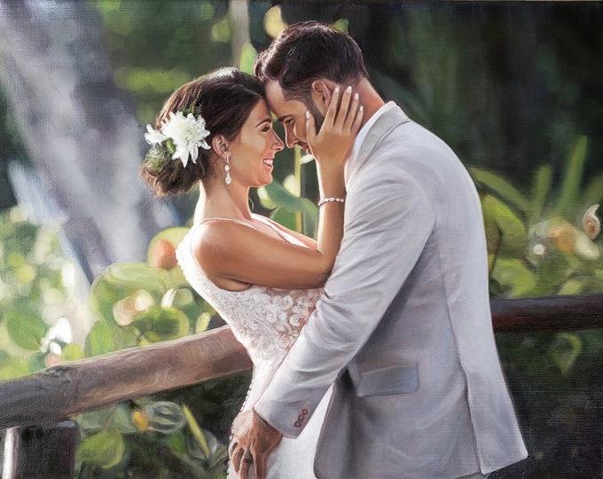 CUSTOM PORTRAIT - Wedding Portrait - Wedding Painting - Oil Painting - Wedding Gift - Anniversary Gift