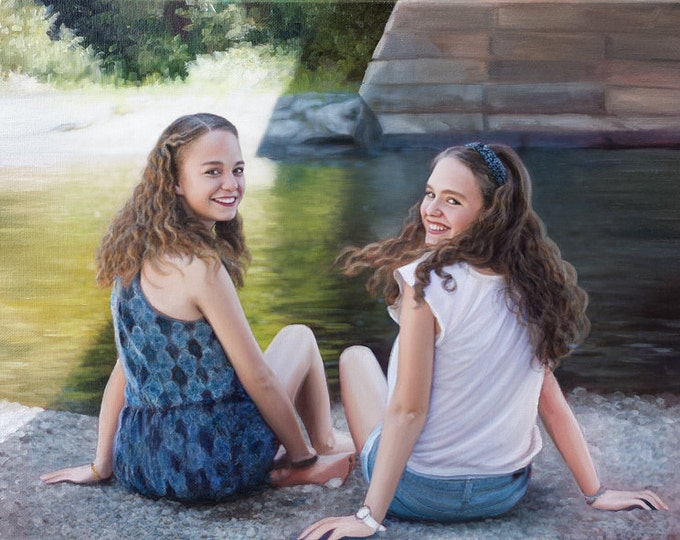 Reserved - Custom Portrait - Oil Painting - Custom Painting - Sisters - Family Portrait - Unique Gift