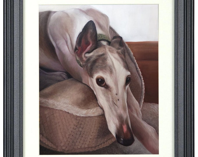 Frame Order - 8x10 and 9x12 only - CUSTOM PET PORTRAITS - Custom Pet Painting - Greyhound - Pet Oil Painting - Dog Portrait