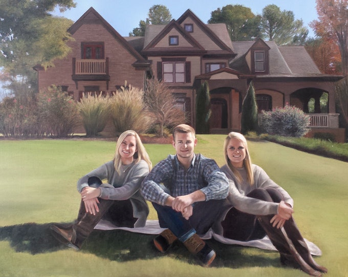 CUSTOM PAINTING - House Painting - Family Portrait - Oil Painting from Photo