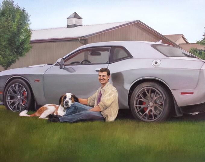 CUSTOM PORTRAIT - CAR Painting - Custom Car Painting - Oil Painting - Mustang