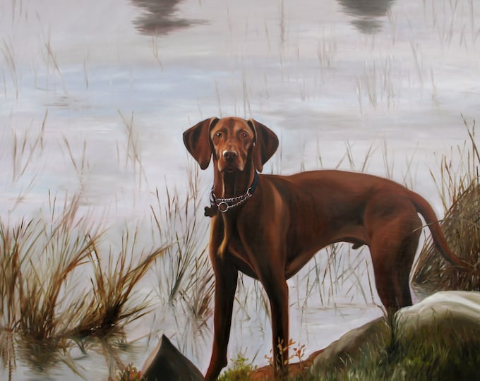 Custom Pet Portrait - Dog Painting - Pet Painting - Oil Painting - Vizsla