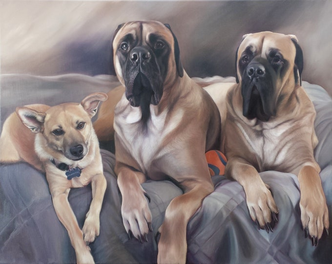 CUSTOM PET PORTRAIT - Oil Painting - Dog Painting - Great Dane - Mastiff - Terrier - Custom Portrait