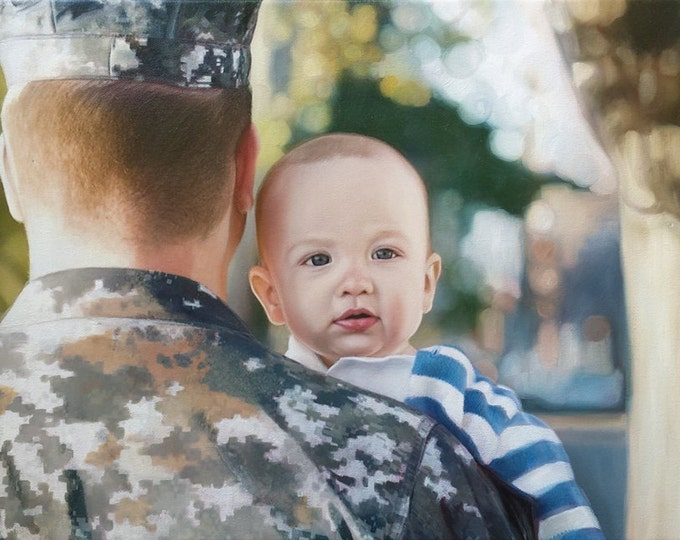 Reserved - Final Payment for Lisa - CUSTOM PORTRAIT - Custom Painting - Oil Painting  - Family Portrait - Military Dad - Perfect Gift