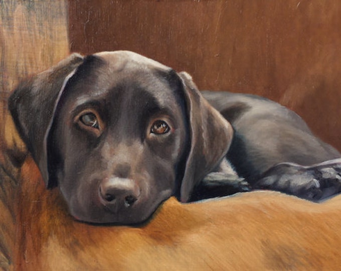 CUSTOM PET PORTRAIT - Miniature portrait - Small Painting - Lab Painting - Oil Painting