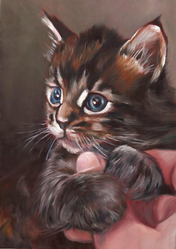 CUSTOM CAT PORTRAIT - Pet Portrait - Miniature Portrait Painting Cat - Unique Cat Gift