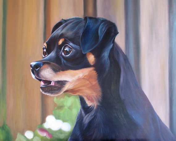 Custom Pet Portrait - Miniature Pinscher - Oil Painting