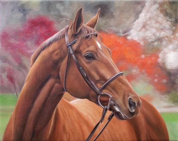 CUSTOM HORSE PAINTING - Oil Painted Portrait - Custom Painting of Horse