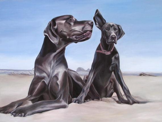 CUSTOM PET PORTRAIT - Oil Painting - Dog Painting - Great Dane - Custom Portrait