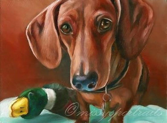 Custom Pet Portrait Oil Painting - Dachshund - Excellent Gift