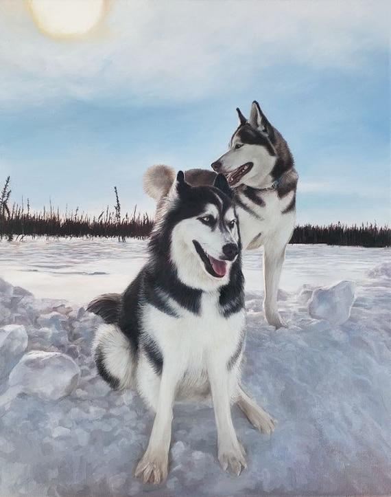 CUSTOM PET PORTRAIT - Painting of Husky - Bernese - Oil Painting - Dog Portrait