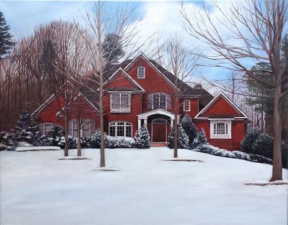 Custom House Painting - House Portrait - House Art - Painting of Home - Portrait of Home - Oil Painting