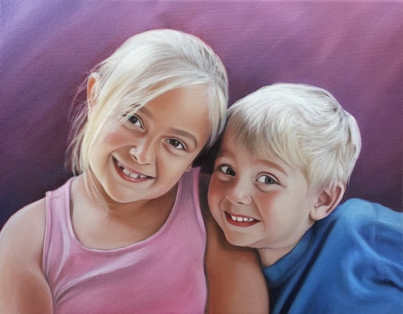 Custom Portrait - FAMILY PORTRAIT - Siblings - Personalized Oil Painting - Best Gift