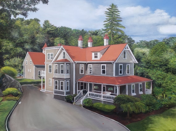 Custom HOUSE PAINTING - House Portrait - Painting of House - Oil Painting - Housewarming Gift