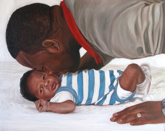 Custom Portrait Oil Painting Father and Son New Dad - Great Gift for Dad