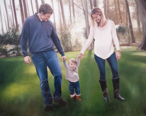 CUSTOM PORTRAIT Family Portrait Painting - Oil Painting - Unique Gift