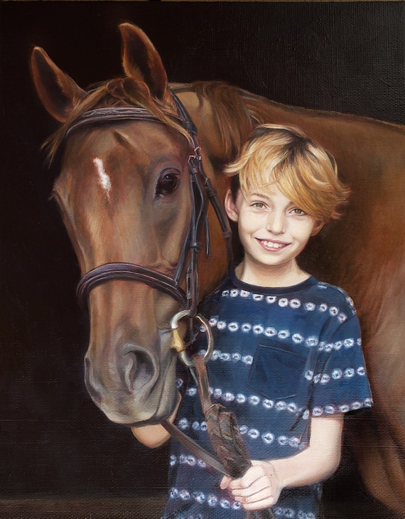 CUSTOM PORTRAIT - Custom Painting of Children - Family Portrait - Horse Painting - Oil Painting