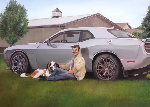CUSTOM PORTRAIT - CAR Painting - Custom Car Painting - Oil Painting - Mustang
