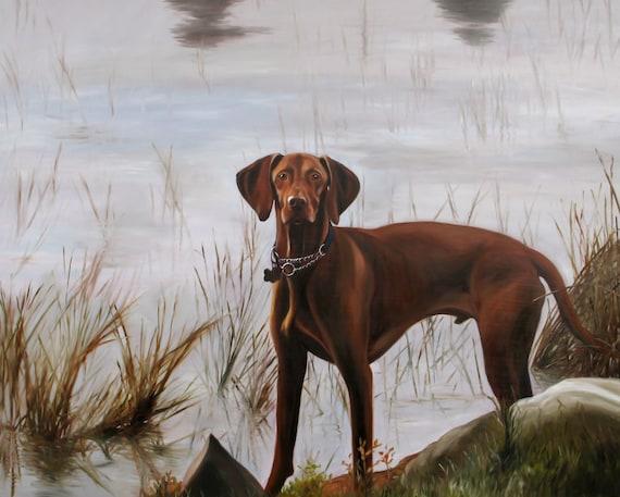 Custom Pet Portrait - Dog Painting - Pet Painting - Oil Painting - Vizsla