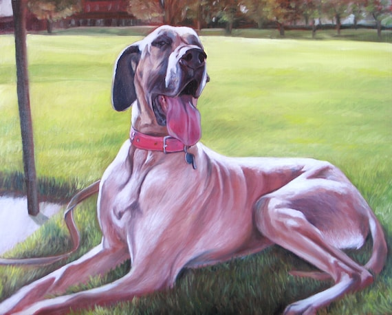 CUSTOM PET PORTRAIT - Oil Painting - Dog Painting - Great Dane - Perfect Gift - 8x10