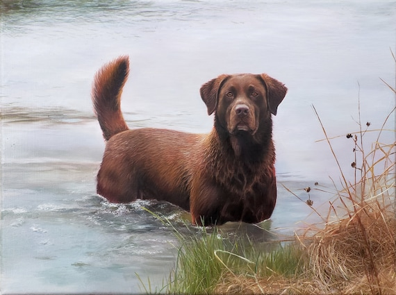 Custom Pet Portrait - CUSTOM DOG PAINTING - Dog in the Water - Pet Painting - Oil Painting