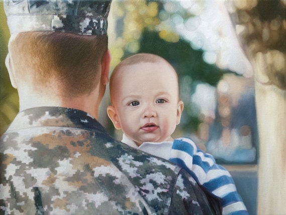 Reserved for Liz - CUSTOM PORTRAIT - Custom Painting - Oil Painting  - Family Portrait - Military Dad - Perfect Gift