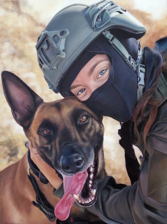 Custom Pet Portrait  - CUSTOM OIL PAINTING - Dog Painting - Dogue de Bordeaux - German Shephard