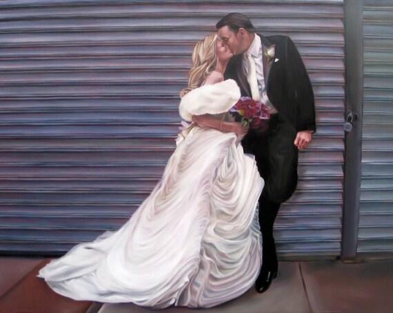 CUSTOM PORTRAIT - Custom Wedding Painting - Oil Painting - Wedding Portrait - Custom Painting - Great Gift