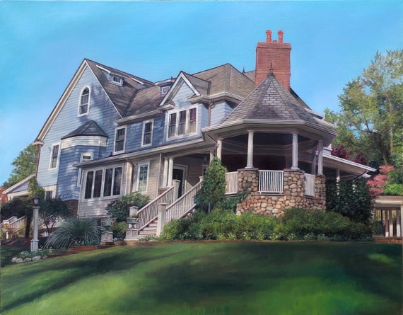 CUSTOM HOUSE PAINTING - House Portrait - Painting of Home - Oil Painting