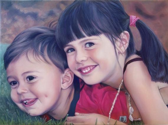 Custom Portrait - Oil Painting - Sisters - Siblings - Child Portrait - Family Portrait - Gift for the Family