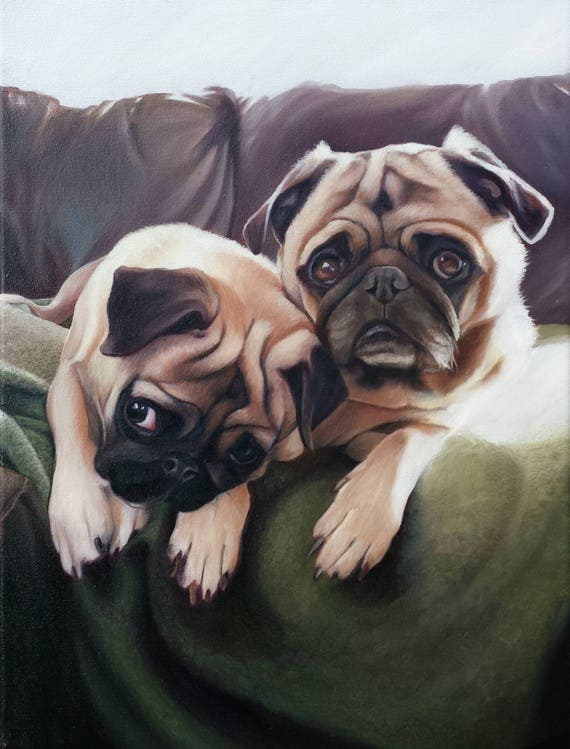 Custom Pet Portrait - CUSTOM PET Painting - Portrait Oil Painting - Dog Portrait