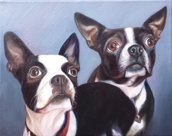 Custom PET PORTRAIT - Pet Painting - Boston Terrier - Oil Painting
