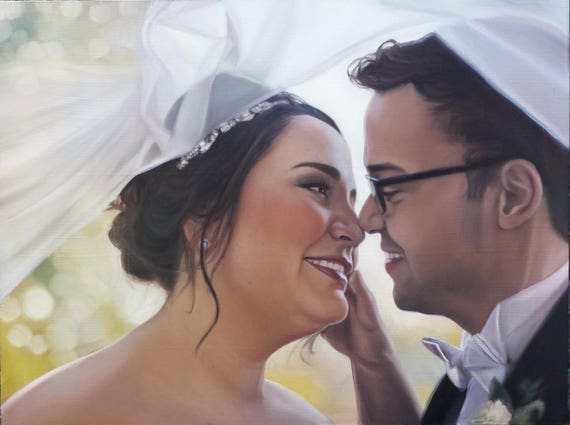 Custom Portrait Oil Painting - Wedding Portrait - Anniversary Gift - Gift for the Bride or Groom