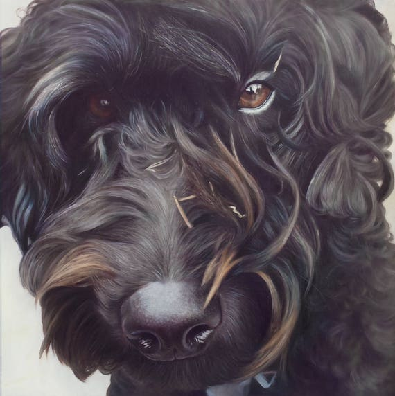Reserved - Pet Portrait - Oil Painting - Pet Painting - DOG PORTRAIT - Custom Portrait - Labradoodle Painting - Unique Gift