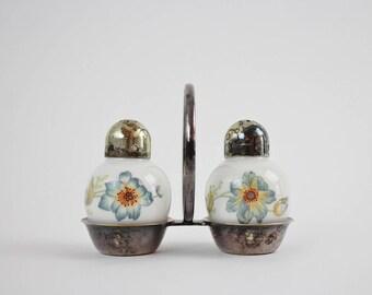 Vintage Thomas Germany Porcelain Salt and Pepper Shakers in Original Silver Plate Carry Frame - Colorful Floral Design