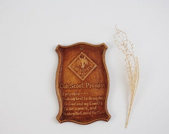 Vintage Cub Scout Promise Wall Plaque - Syrocco Wood Plaque Boy Scouts of America
